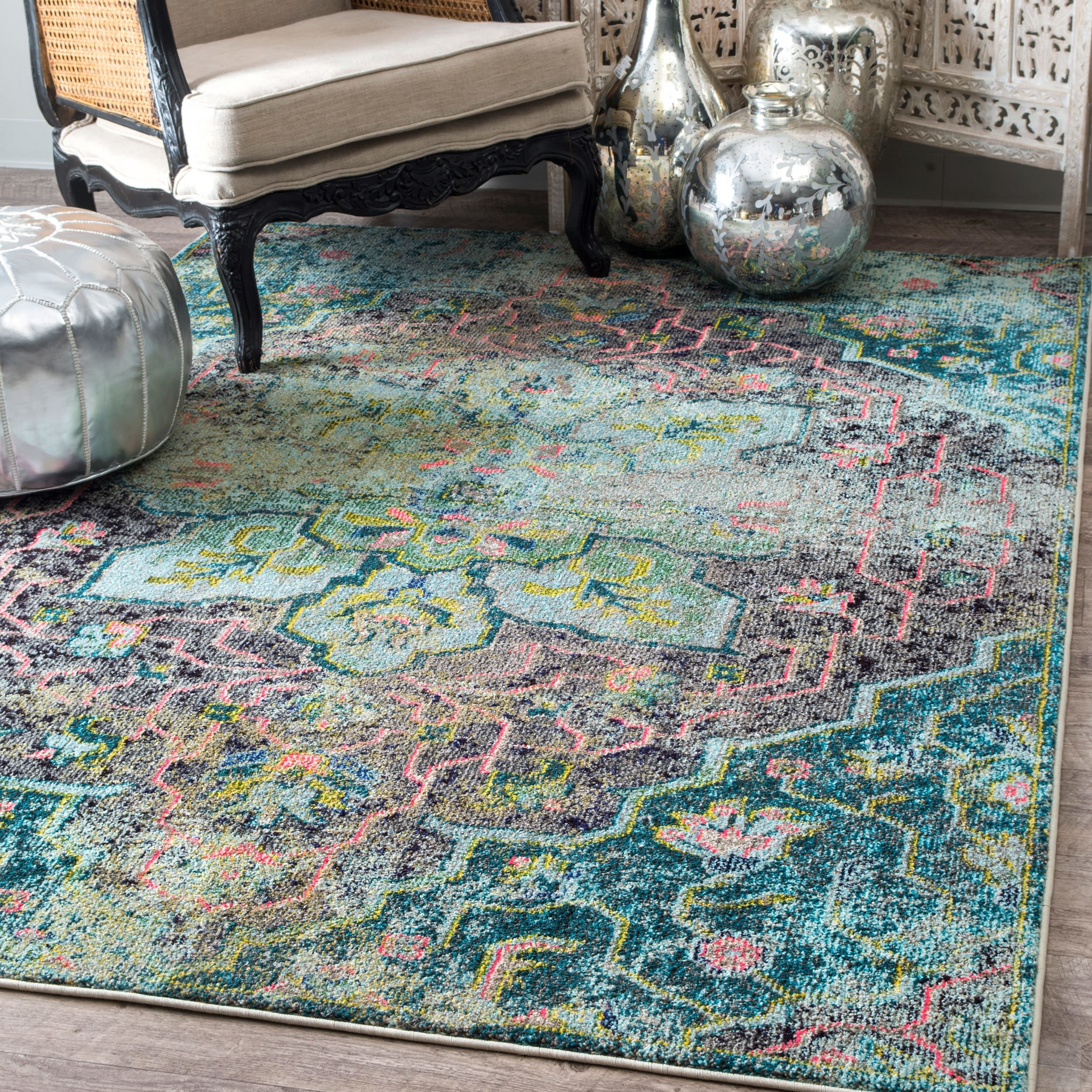 Overstock Com Online Shopping Bedding Furniture Electronics Jewelry Clothing More Aqua Rug Floral Medallion Rug Rugs