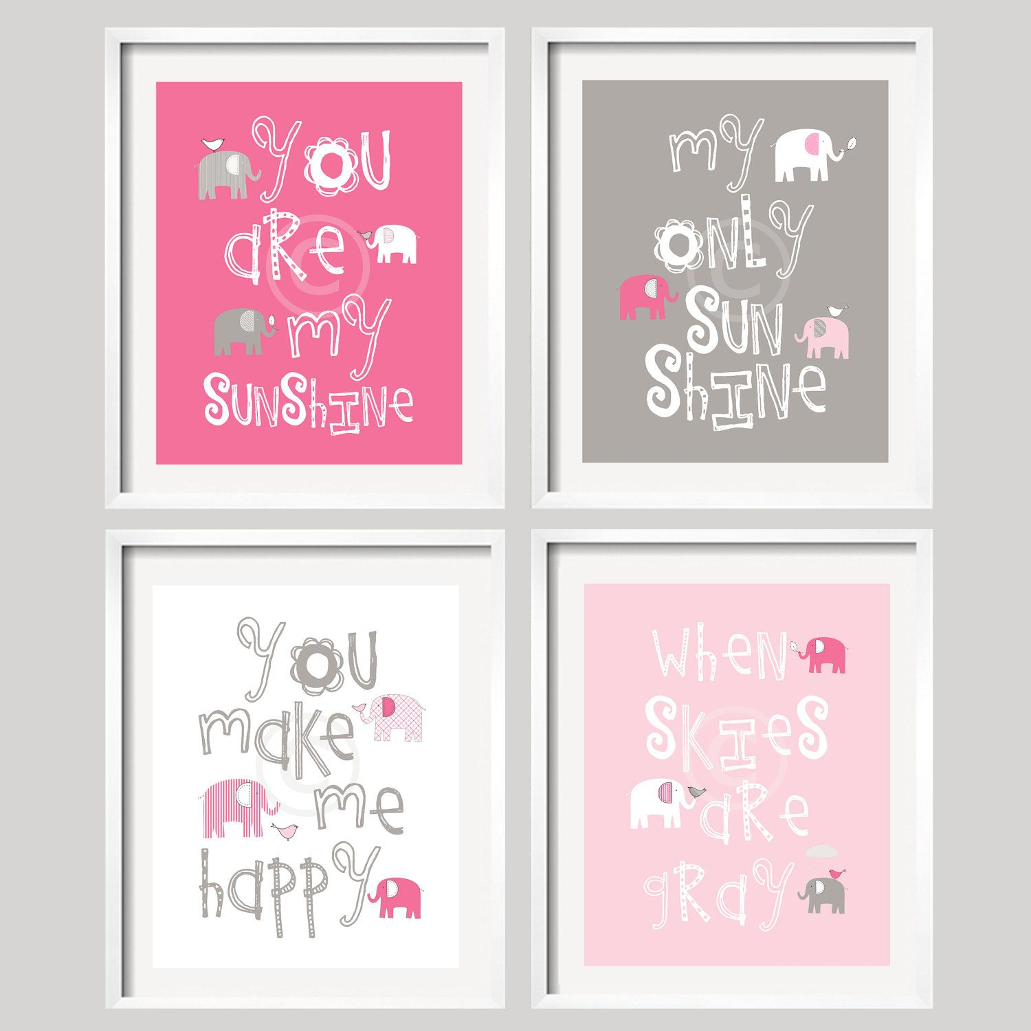 Elephant nursery wall art print mom baby dad by rizzleandrugee - Nursery Print You Are My Sunshine Pink And Grey Wall Art Baby Shower Gift Boy And Girl Colors Frames Not Included Gsbi 001