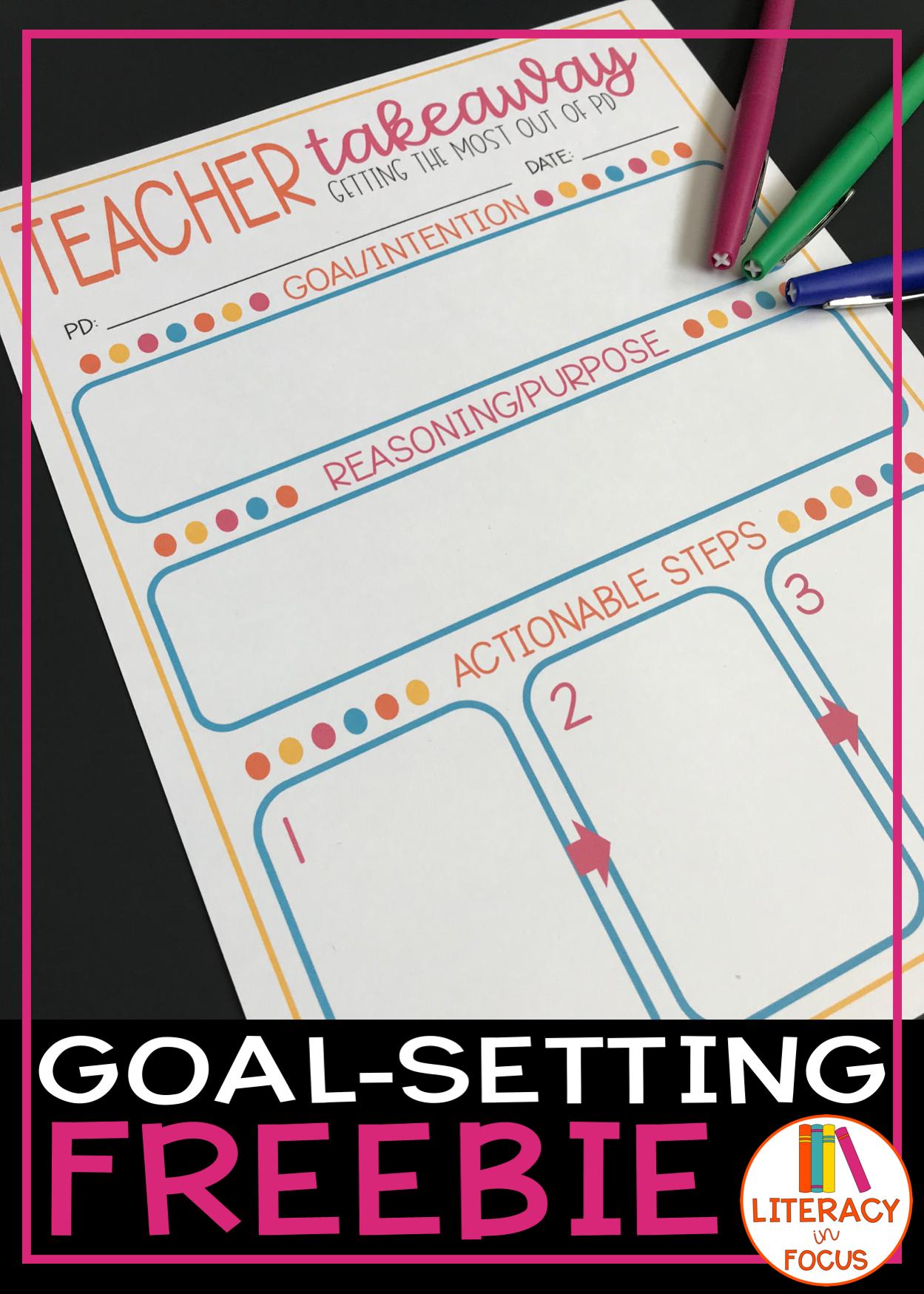 Goal Setting Worksheet For Teachers Digital Amp Printable