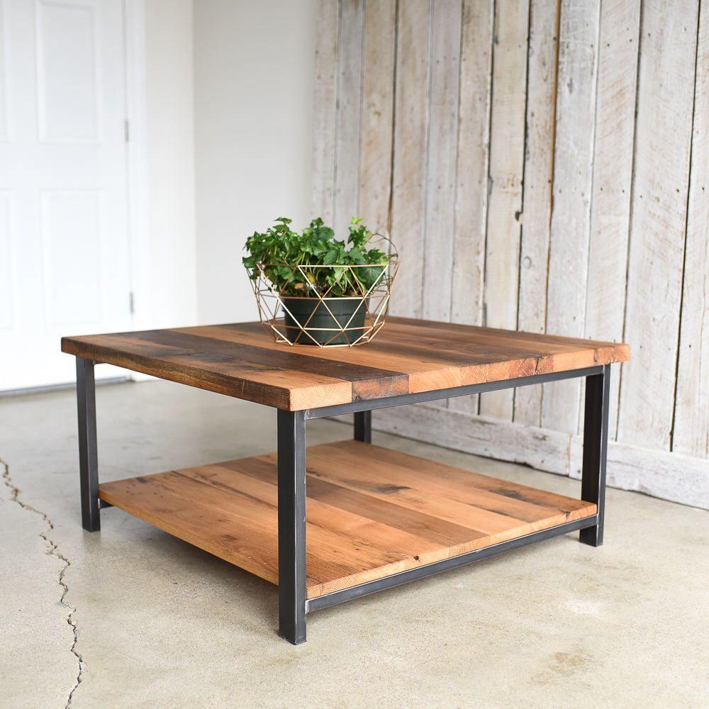 Square Oak Coffee Table Rustic Reclaimed Wood And Steel Etsy Reclaimed Wood Coffee Table Coffee Table Coffee Table Wood [ 1000 x 1000 Pixel ]