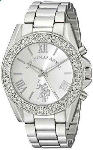 U.S. Polo Assn. Women's USC40035 Rhinestone Accented Silver