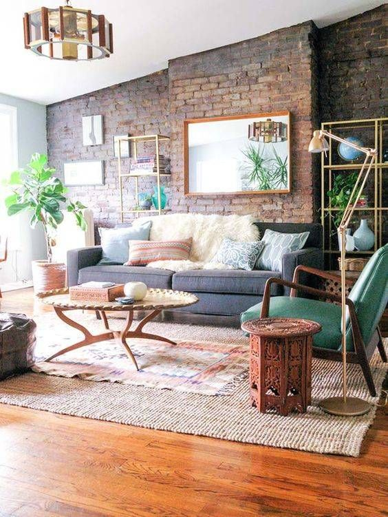 Exposed Brick Interiror Walls Home Living Room Living Room
