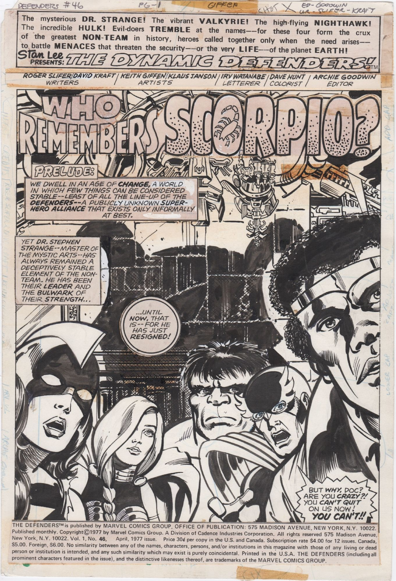 Defenders 46 Page 1 1977 Nightwing