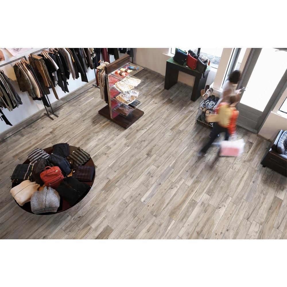 soft ash wood plank porcelain tile - 6in. x 40in. - 100105923
