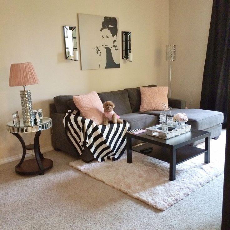 Grey Apartment Living Room Ideas: Sala Clássica Com Cores Básicas. O Detalhe Em Rosa
