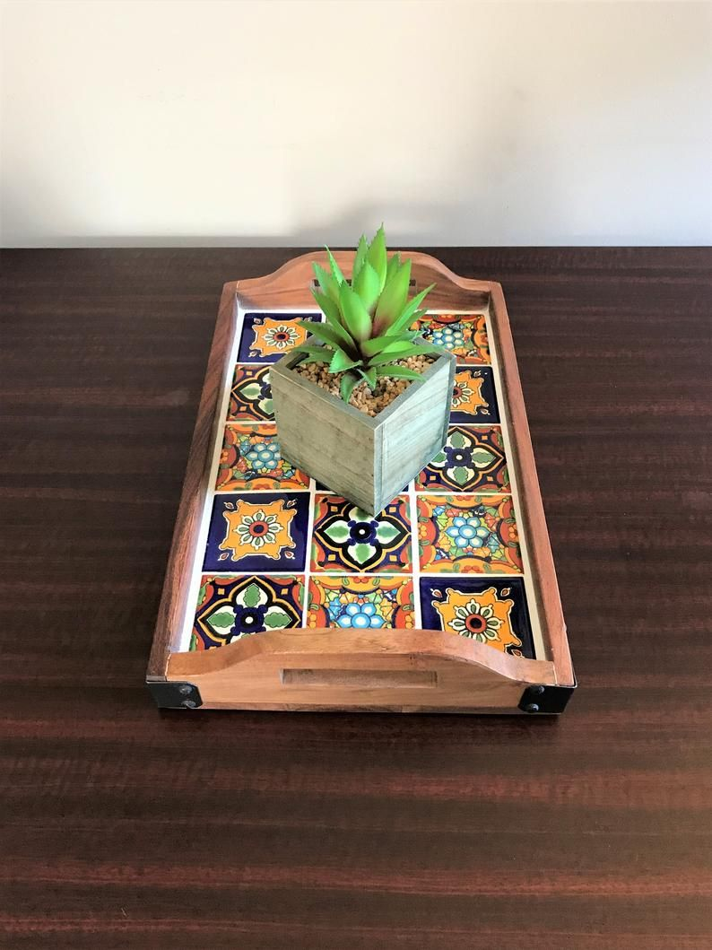 Talavera Tile Tray Wooden Serving Tray With Hand Painted Etsy Wooden Serving Trays Tiled Coffee Table Decorating Coffee Tables [ 1059 x 794 Pixel ]