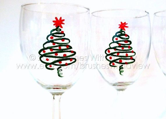 Christmas wine glasses hand painted on etsy for Hand painted wine glass christmas designs