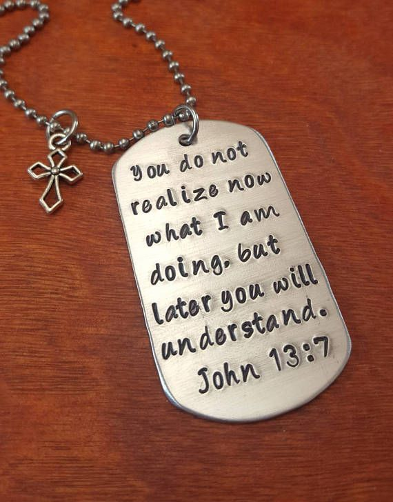 Bible Verse Be Strong and Courageous Keychain Inspirational God Cross Stainless Steel Dog Tag Keyring