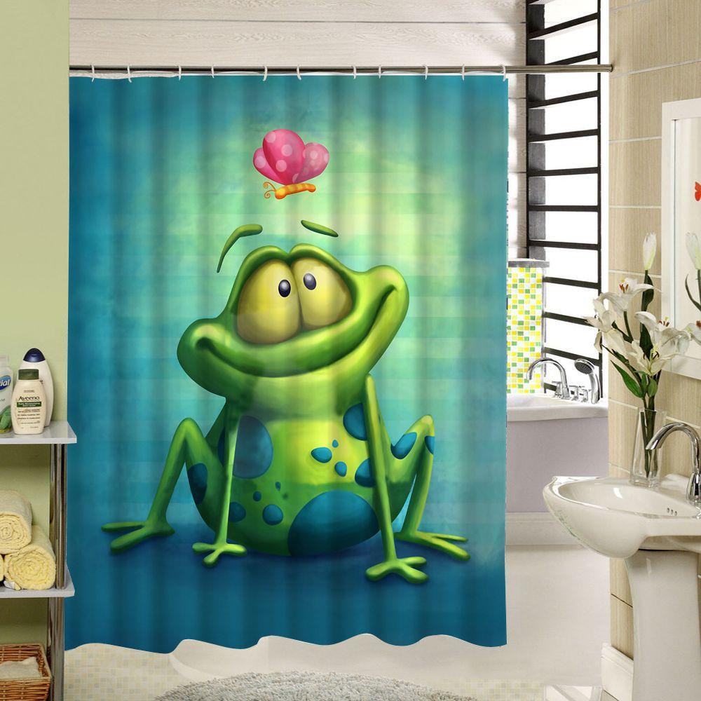 Cool Frog Shower Curtain Green Polyester Waterproof Mildewproof