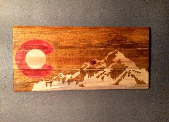 Colorado Art Mountain Wall Art Colorado Flag Colorado Etsy Colorado Art Colorado Flag Mountain Wall Art