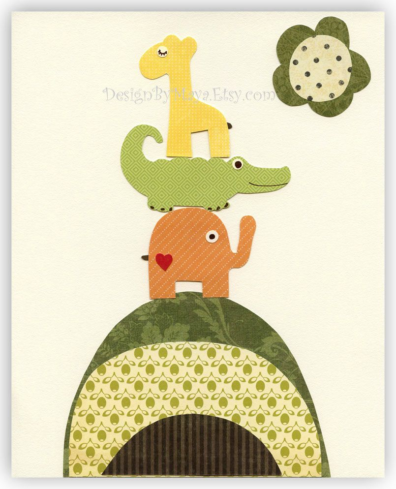 Baby room art Nursery Wall Art Print elephant giraffe alligator owl ...