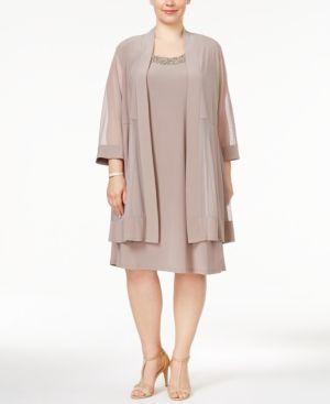 R & M Richards Plus Size Shift Dress and Jacket - Tan/Beige 16W