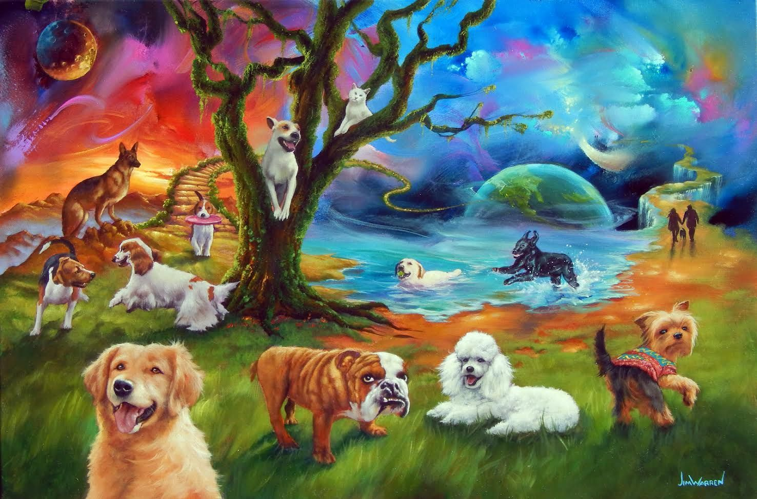 Dog Heaven By Jim Warren Animal Line Drawings Animals Artwork
