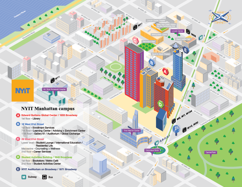 New York Institute Of Technology Campus Map On Behance Campus Map Map Campus