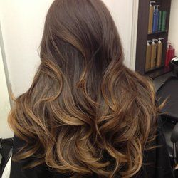 Subtle Caramel Brown Ombre on Asian hair..