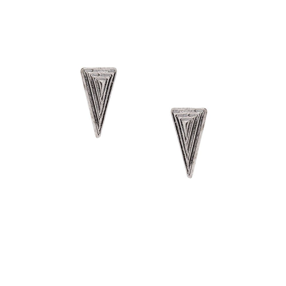 Antique Silver Long Textured Triangle Stud Earrings | Claire's