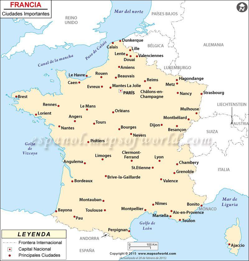 Mapa De Francia Ciudades.Francia Ciudades Mapa Las Principales Ciudades De Francia