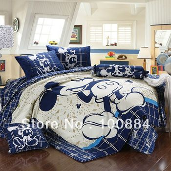 Cartoon mickey mouse king size comforter set 5pc,quilt +Duvet sets
