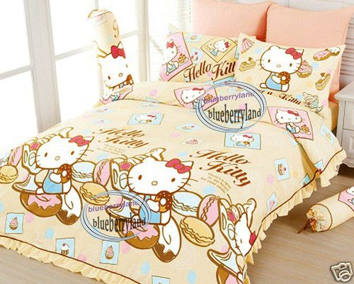 Superb Sanrio Hello Kitty Double Bed Size Bedding 4P Set Fitted Sheet Duvet Cover  Cream | EBay