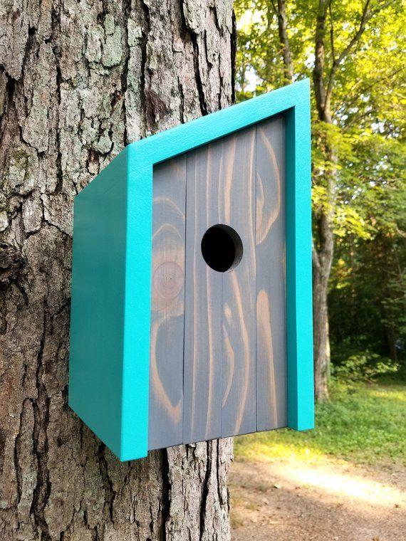 Birdhouse Modern Wooden Birdhouse Minimalist Blue Fiji with Weathered Gray Cedar Face Unique Outdoor Bird House