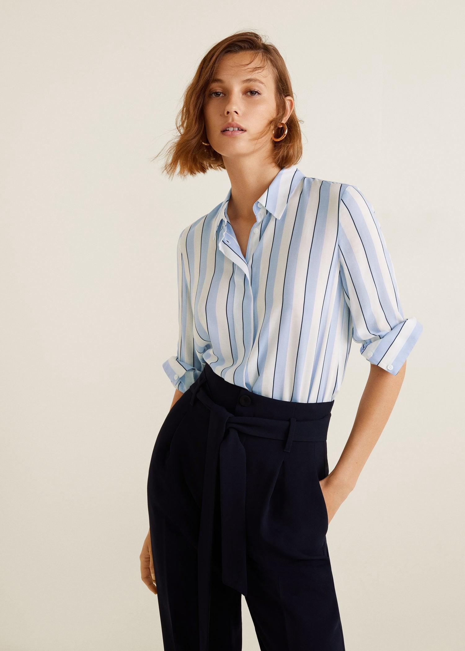 37ed41ab9450 Mango Stripe-Patterned Shirt - Caramel 8
