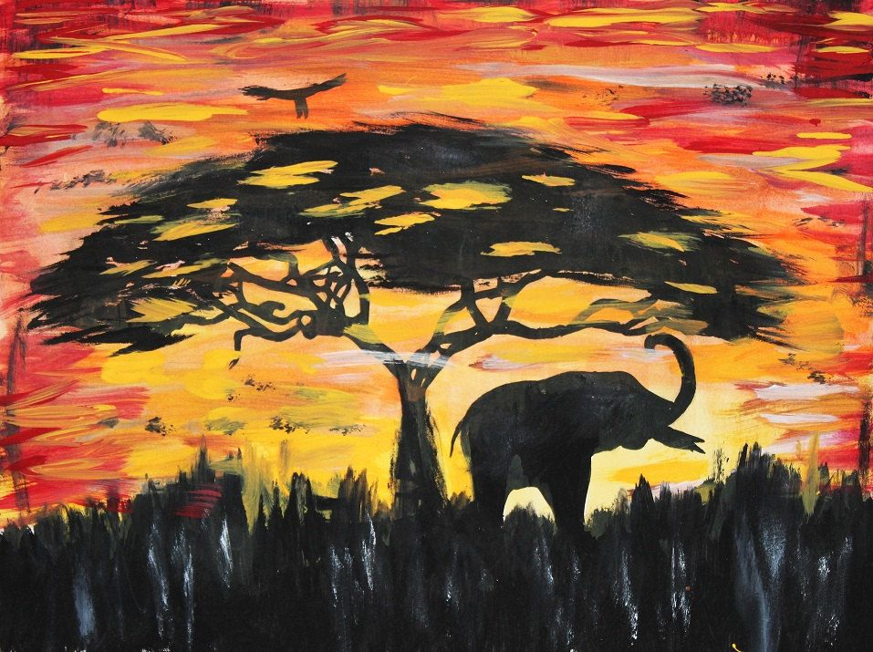 Elephant Silhouette, African sunset, Original painting, tree ...