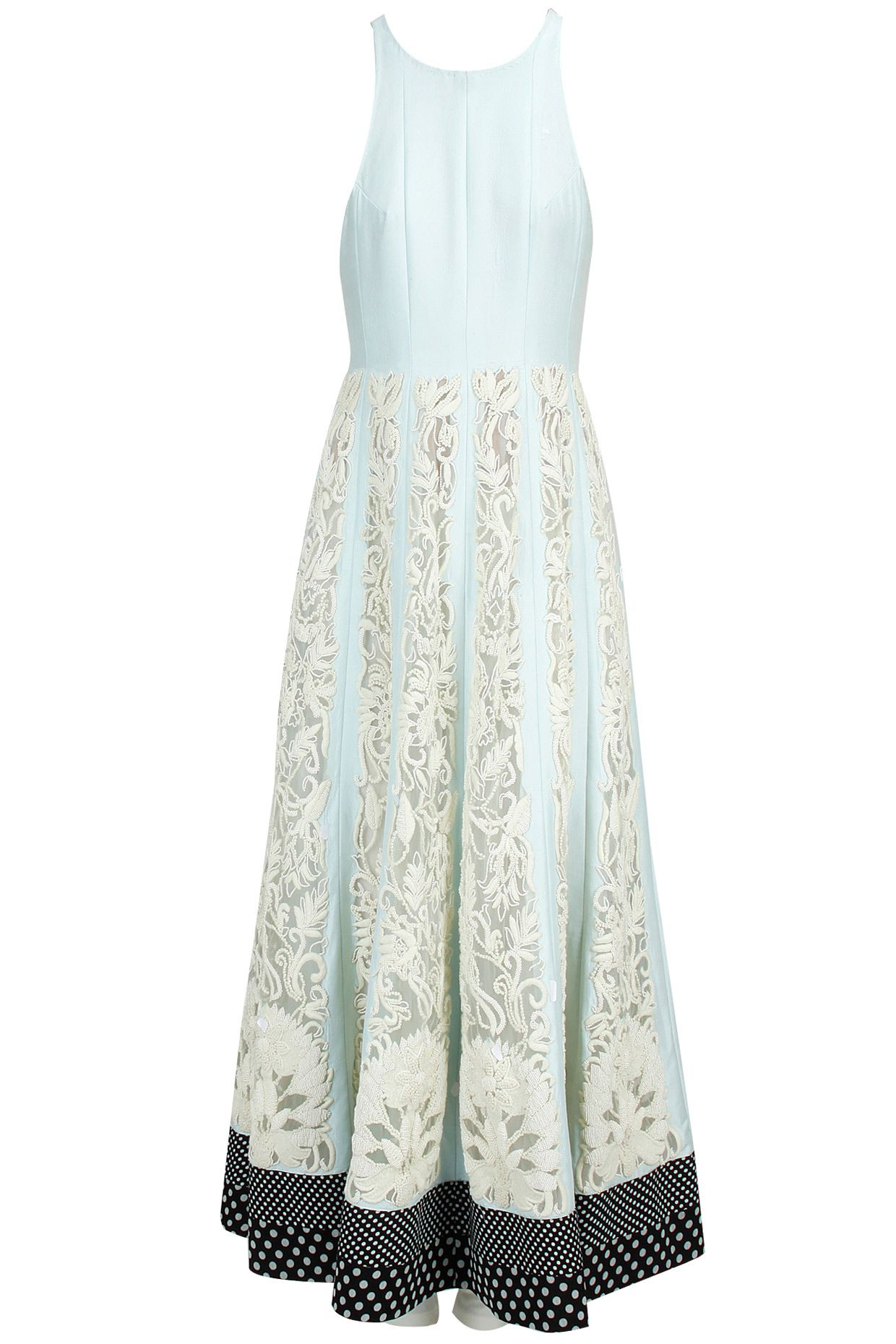 Pale blue embroidered anarkali set with boondi duppata available only at Pernia's Pop-Up Shop.