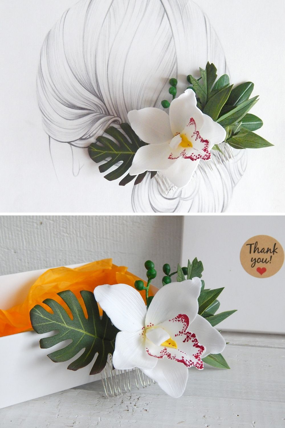Hawaii Hair Flower Clip White Orchid Flower Hair Comb Tropical Flower Headpiece In 2020 Floral Wedding Hair Floral Hair Clip Wedding Flowers In Hair
