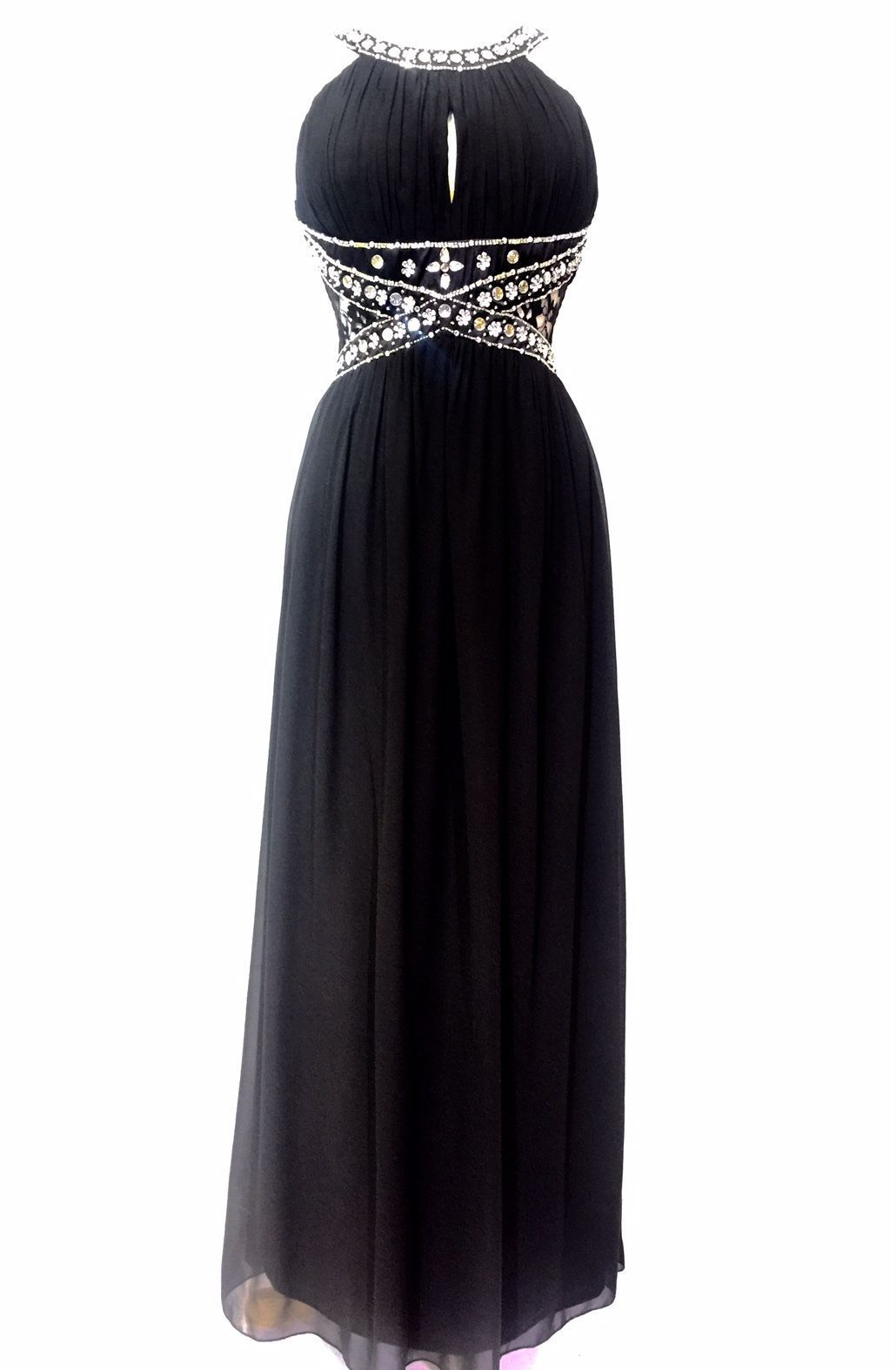 Black embellished maxi dress cocktail prom gown party prom gown size