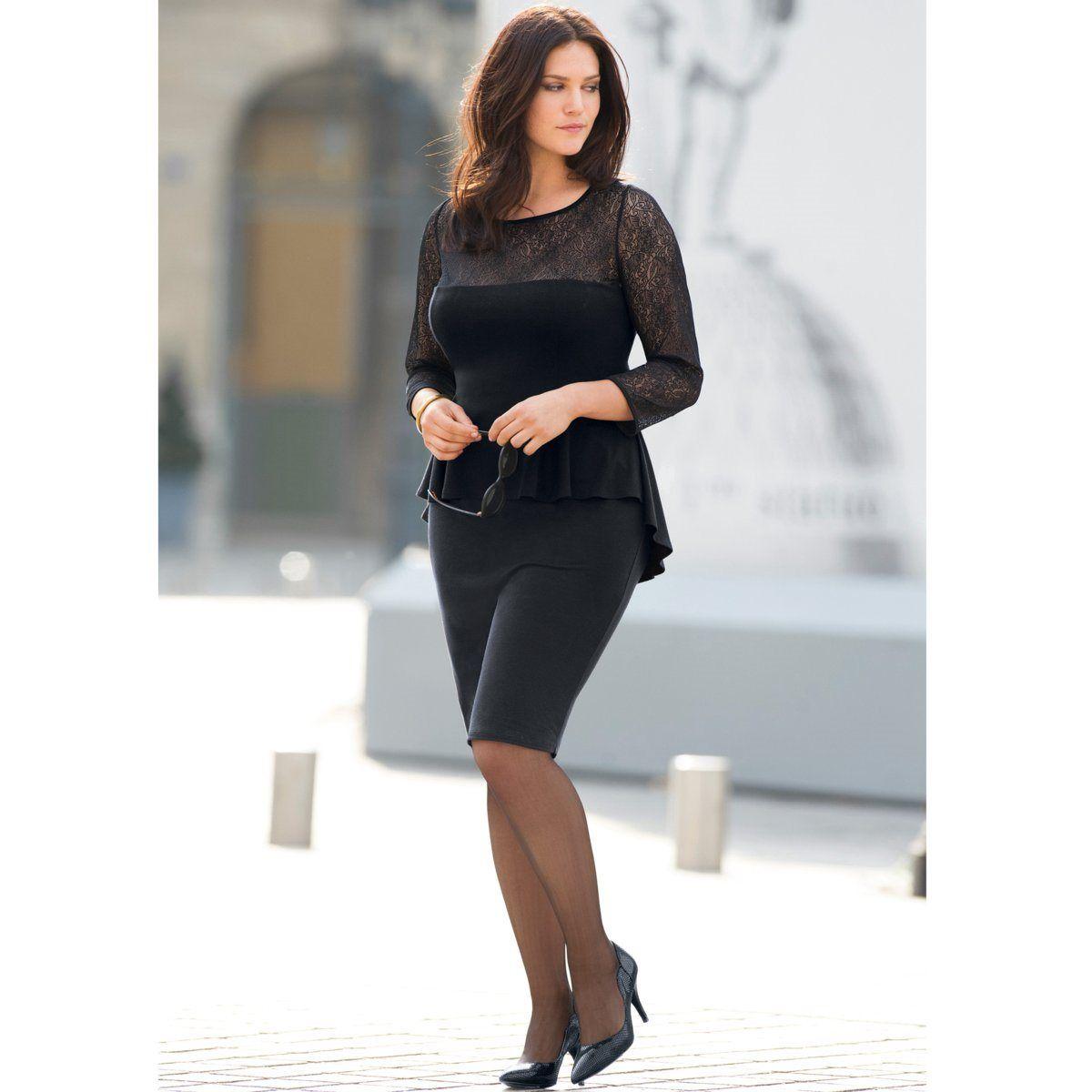 0c82a2ae000d Vestido preto, efeito 2 em 1 adelgaçante, com renda Taillissime | La Redoute