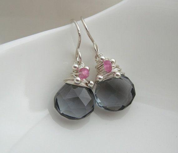 Inky Teal Blue Quartz Gemstone Earring by SarahHickeyJewellery