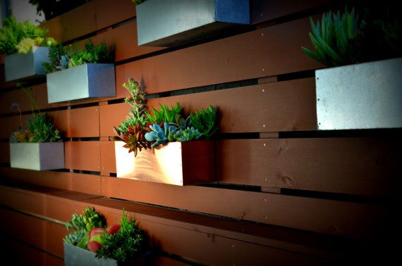 Copper Hanging Planter Box Horizontal Fence By