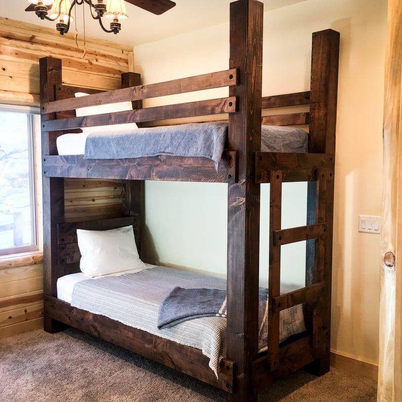 The Twin Big Sky Bunk Bed ---- Loft Bed Bunk Bed Frame Full Bed King Bed Frame Kids Room Furniture Adult Bunk Beds Queen Bunk Bed Twin Bunk