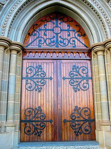 Shiny wood double doors at the Bendigo Sacred Heart Cathedral in Australia & Bendigo Sacred Heart Cathedral door | Sacred heart cathedral and ... pezcame.com