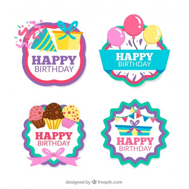 Pack Of Four Retro Birthday Stickers Free Vector Freepik Freevector Vintage Birth In 2020 Birthday Stickers Happy Birthday Printable Birthday Gift Tags Printable