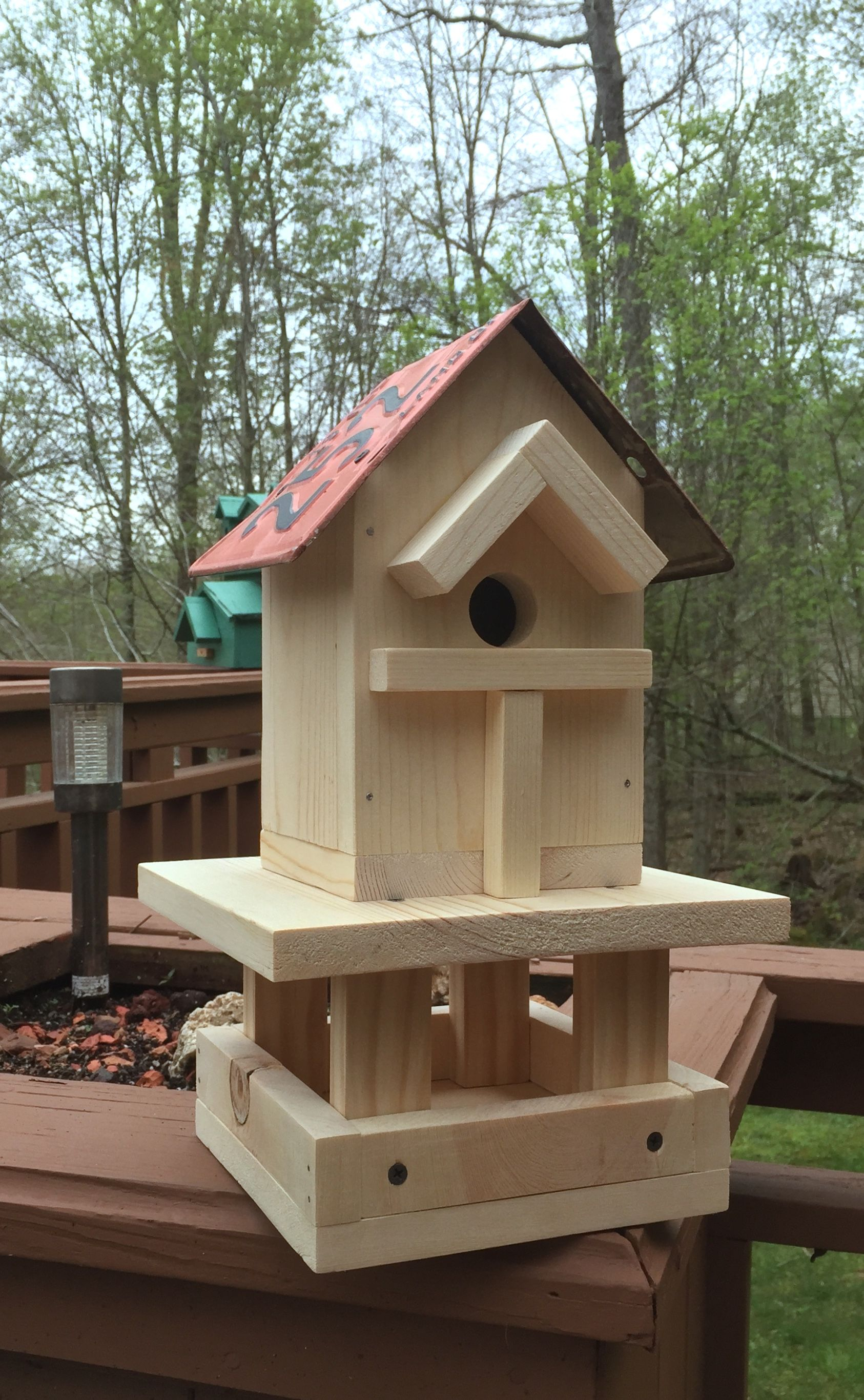 Pine Wood Bird House Bird Feeder Combo Bird House Feeder Bird House Bird House Plans