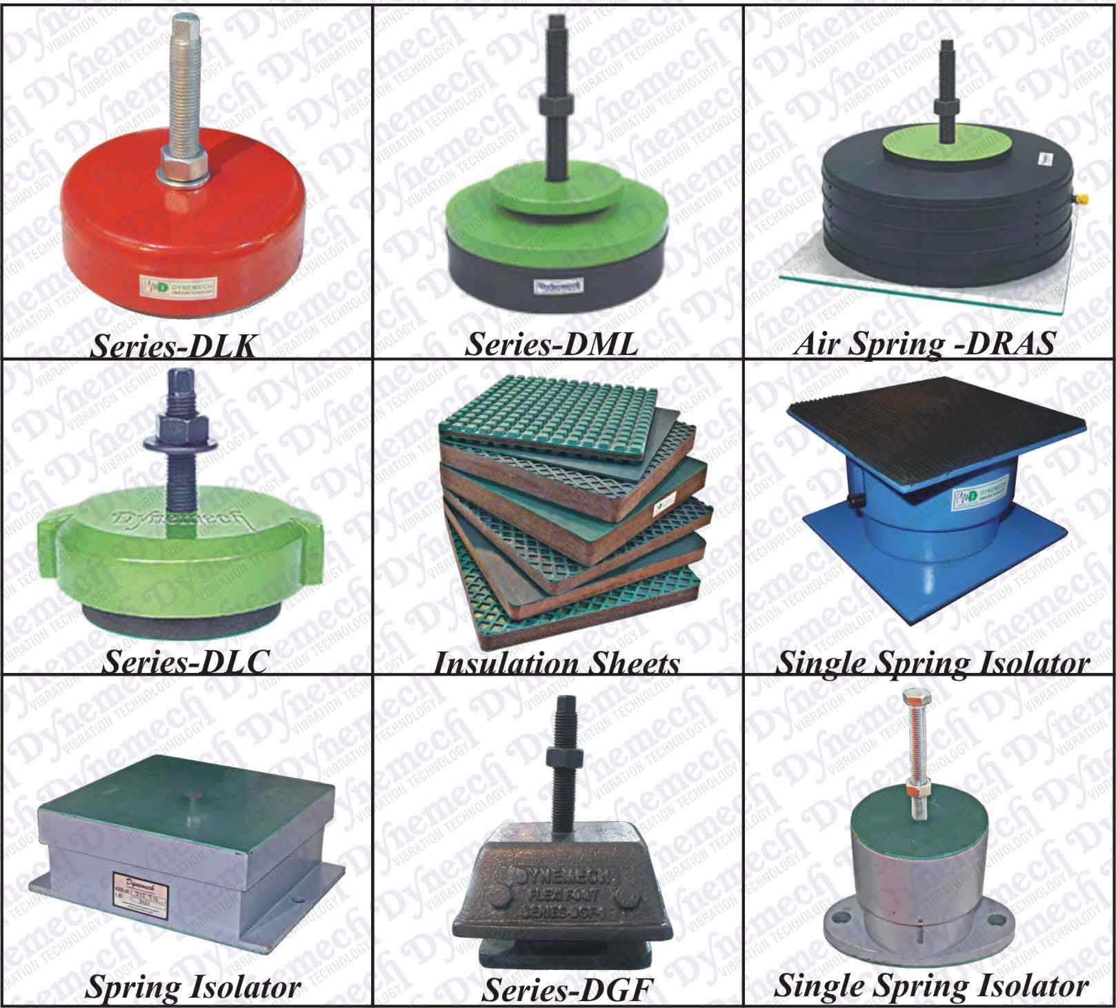 Machine Leveling Mounts : The array of anti vibration pads offered by dynemech