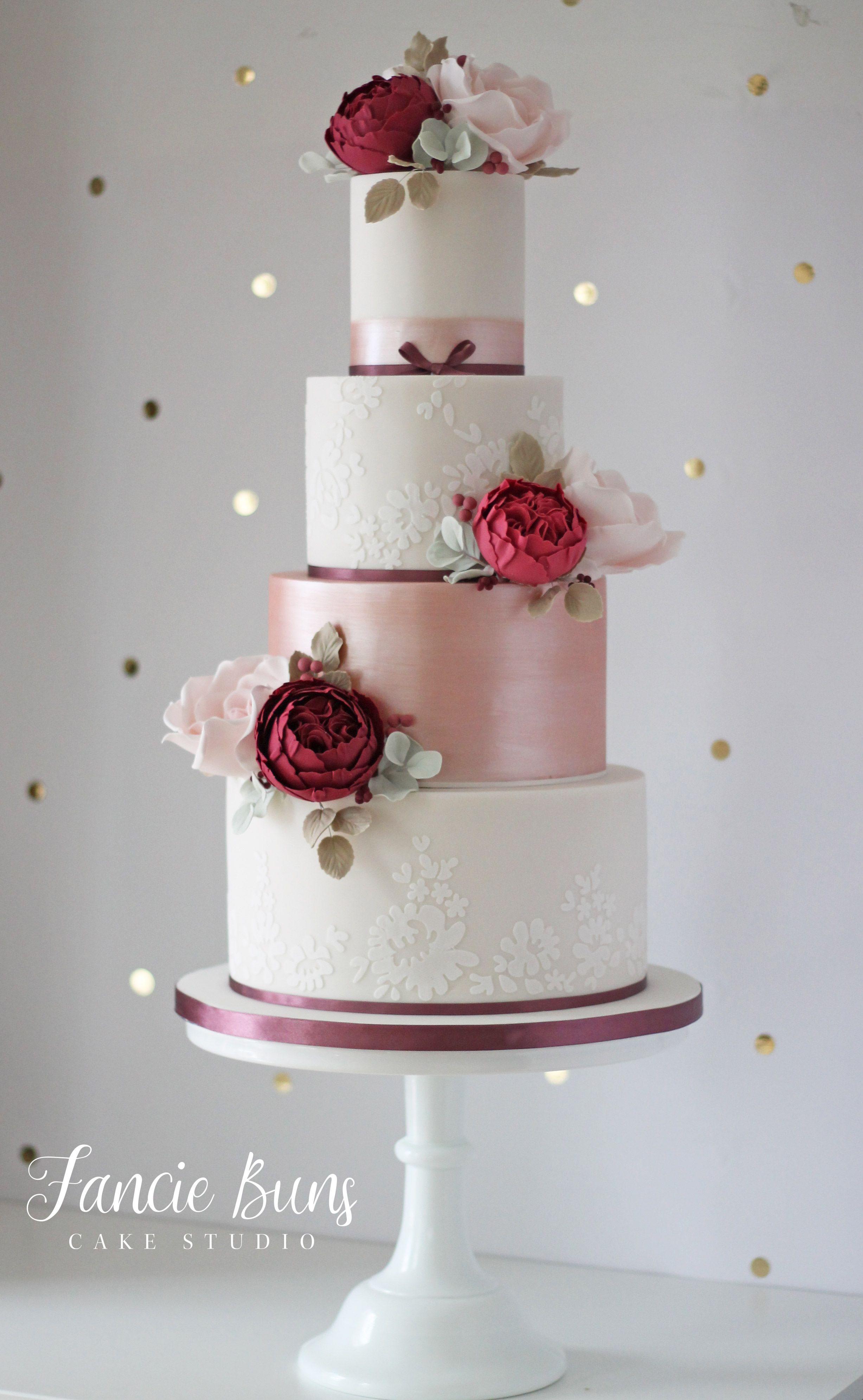 Blush Burgundy Rose Gold Lace Wedding Cake Wedding Cake