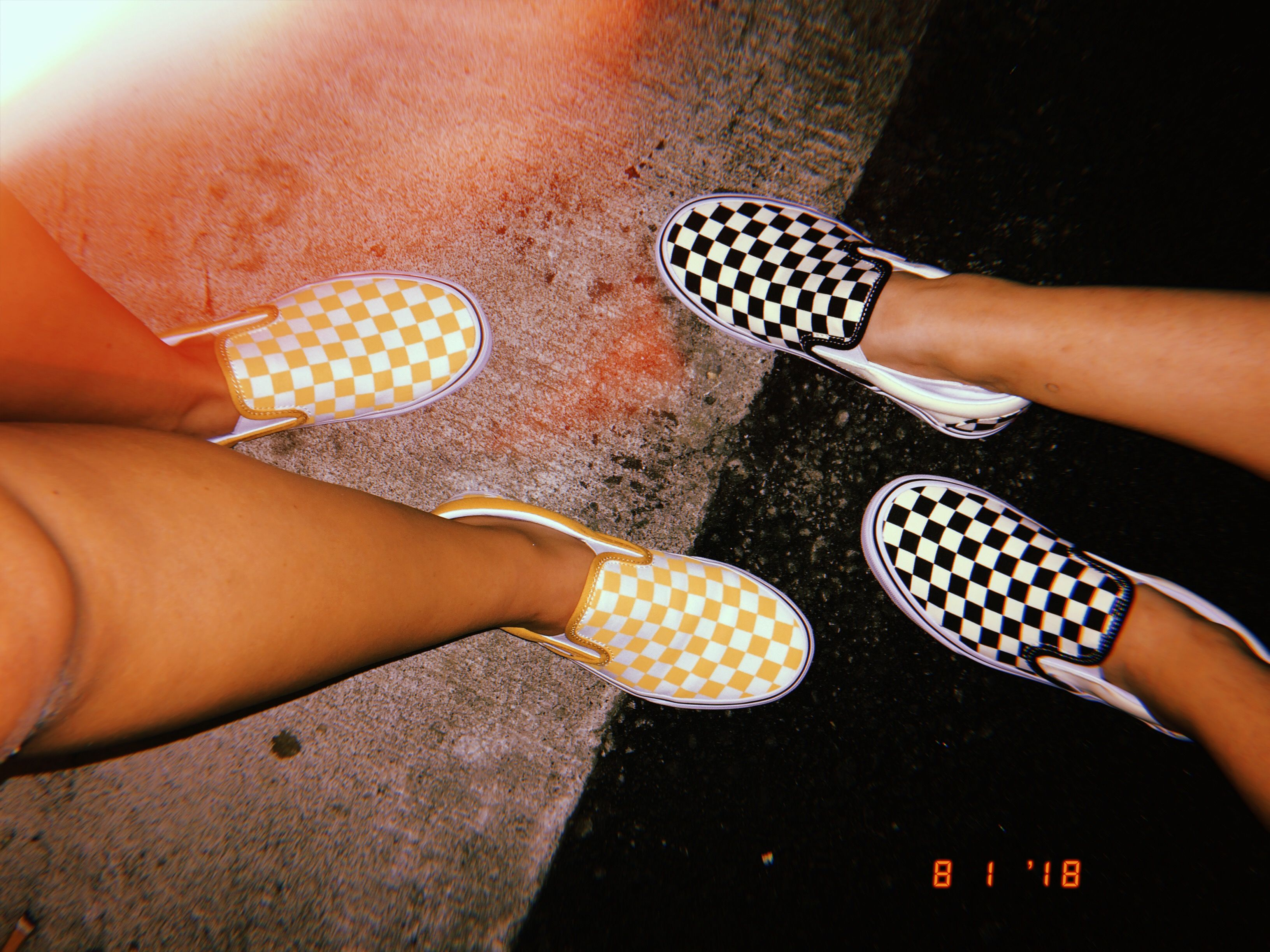 Checkered Slip On Vans Yellow And Black Aesthetic Friends Shoes