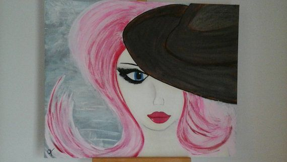 Check out this item in my Etsy shop https://www.etsy.com/listing/178602957/pink-lady-original-acrylic-fine-art