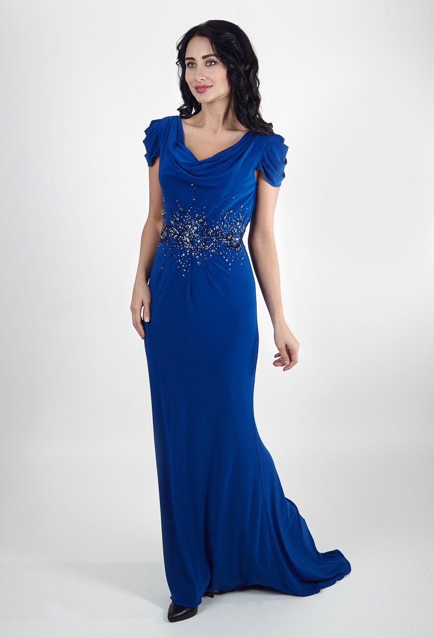 Длинные вечерние платья для полных синее   Long evening dresses for full blue