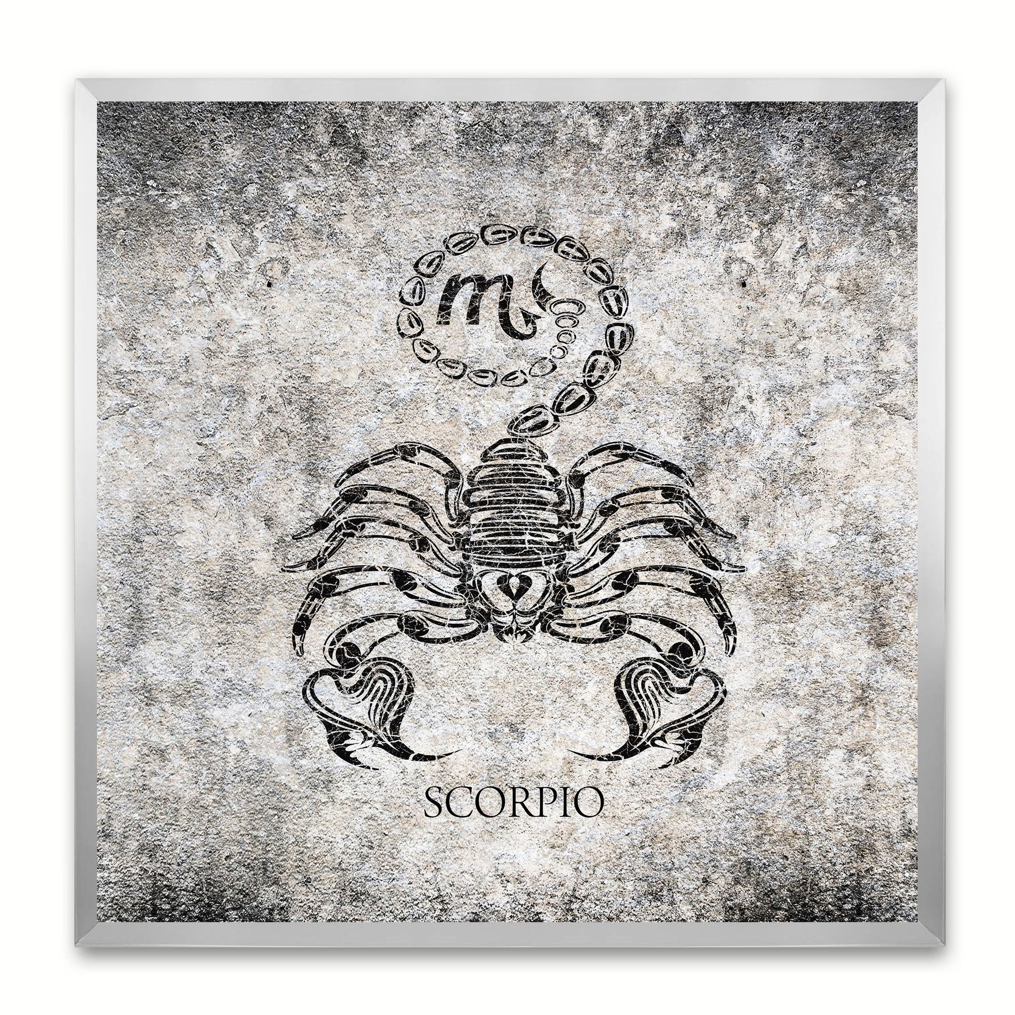 Scorpio Horoscope Black Canvas Print, Silver Custom Frame