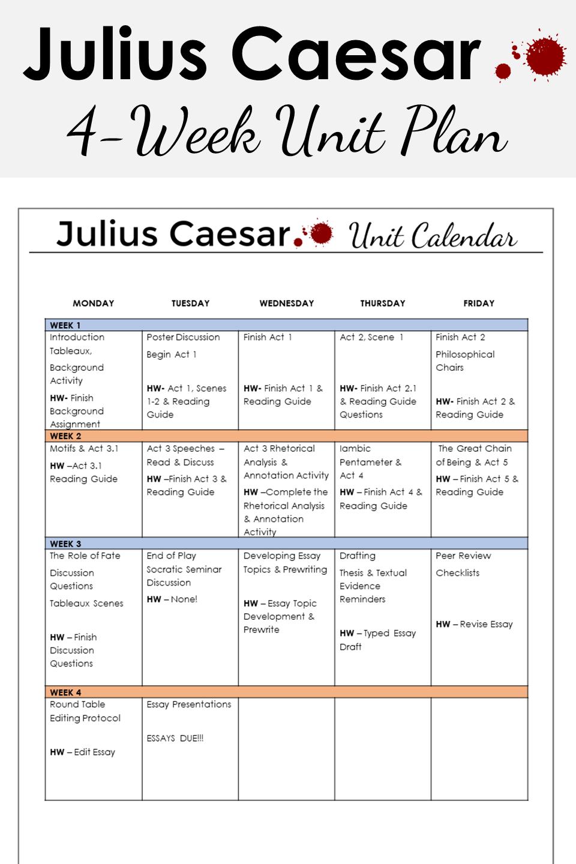 Juliu Caesar Unit Plan Lesson High School Literature Romeo And Juliet Act 2 Scene 1 Quote Analysis Analysi
