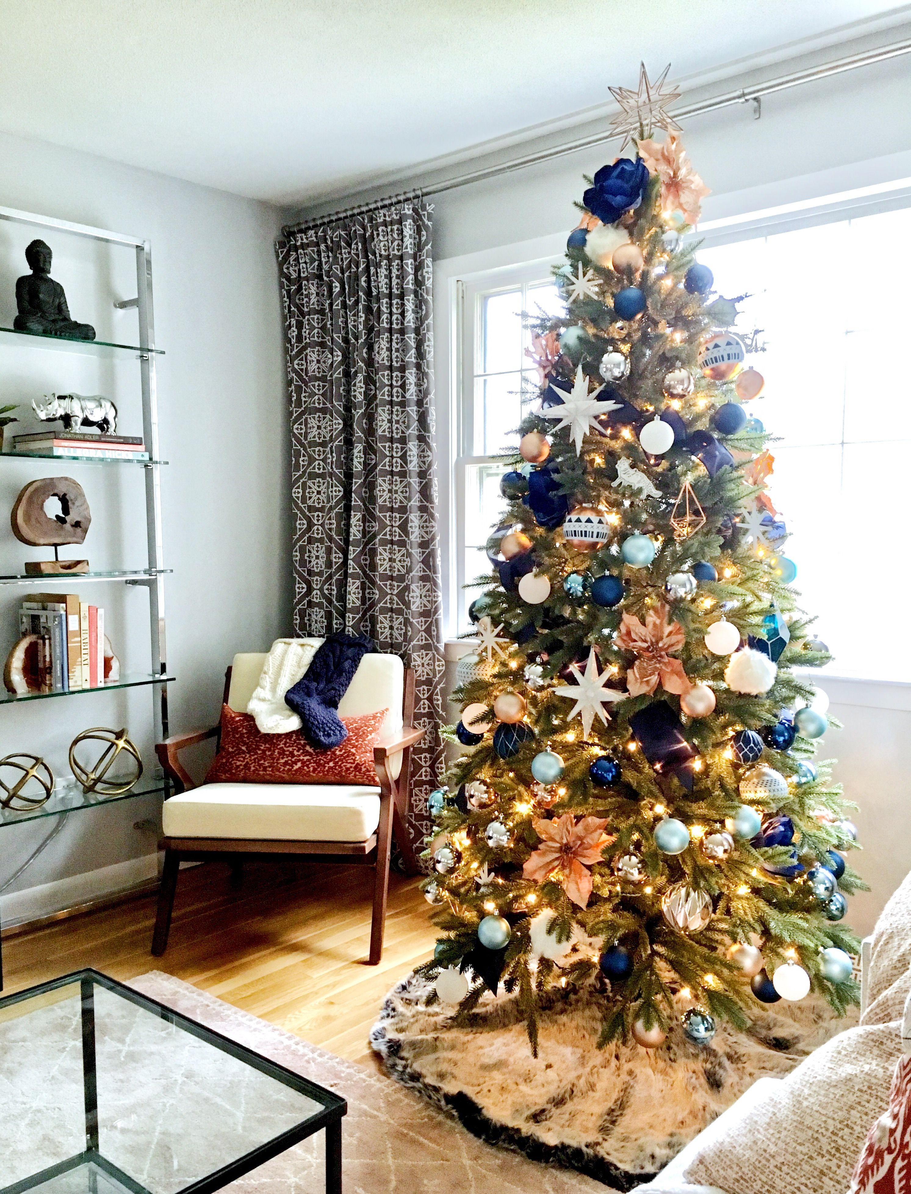 Christmas Tree Navy And Copper Eml Interiors Copper Christmas Decor Blue Christmas Tree Diy Christmas Tree
