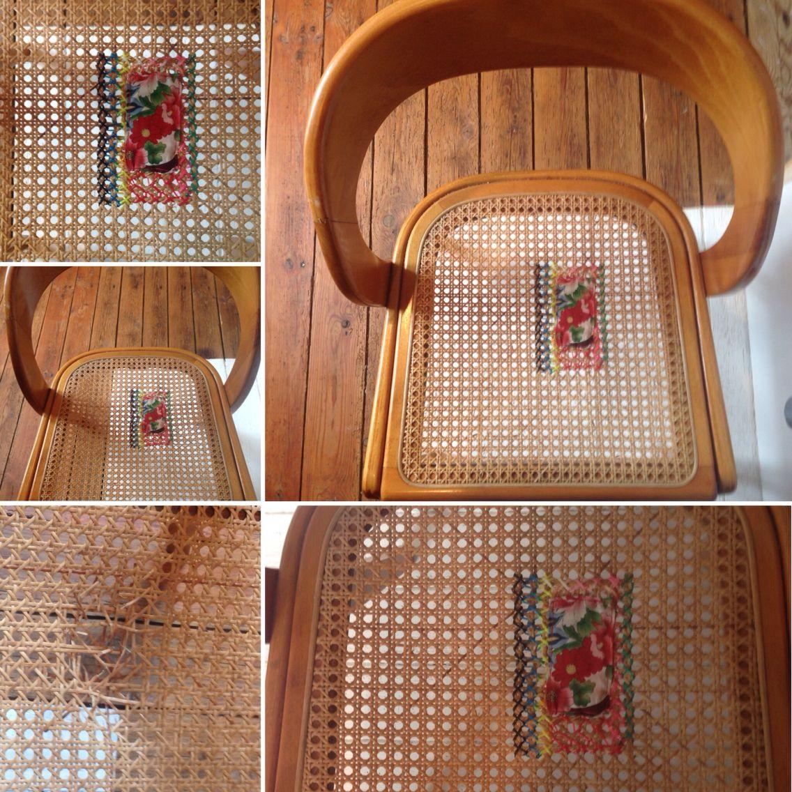 Reparer Un Cannage De Chaise Scoubidou Et Tissus Fleuri Cannage Chaise Cannage Reparer