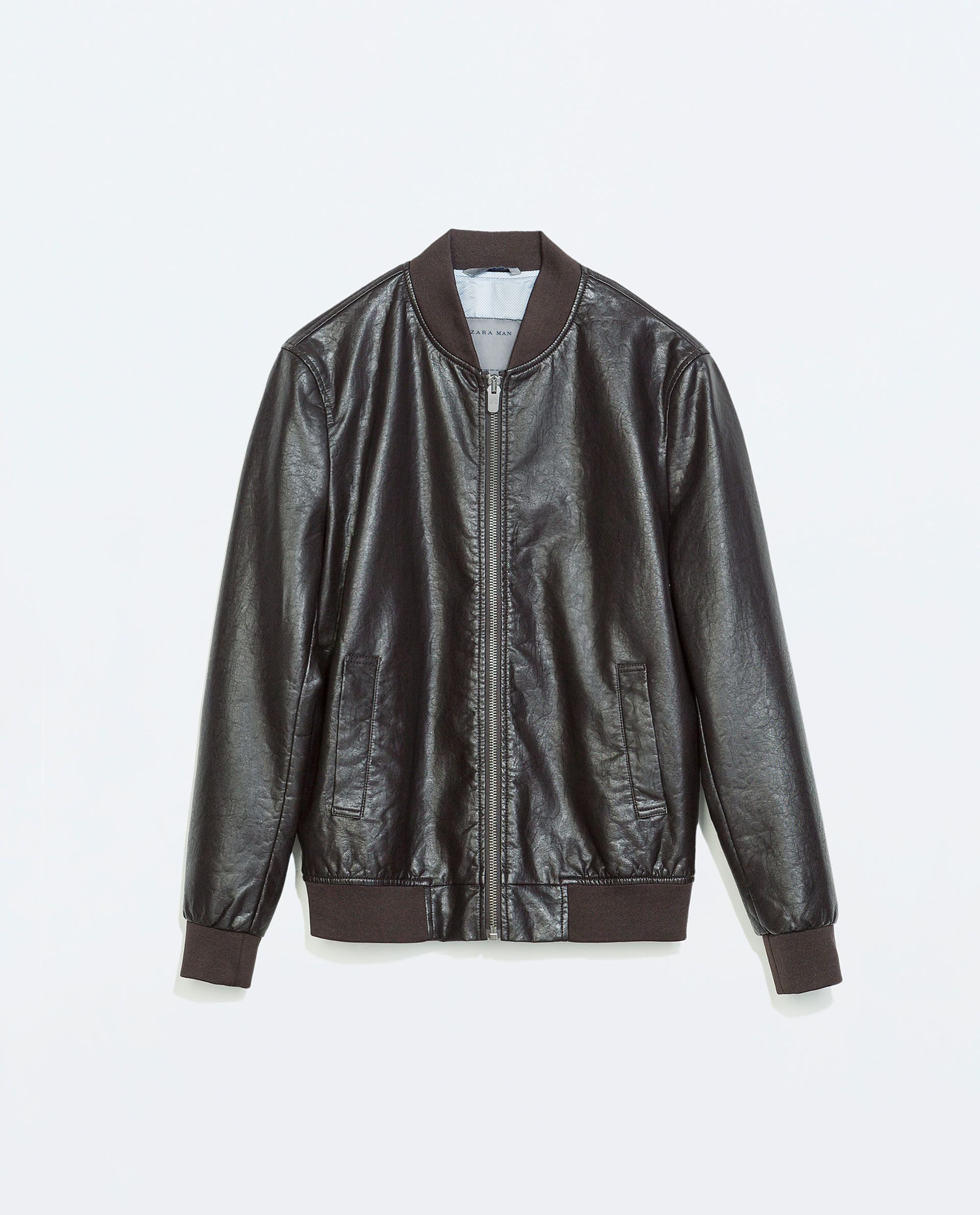FAUX LEATHER BOMBER JACKET Tops MAN PROMOTIONS