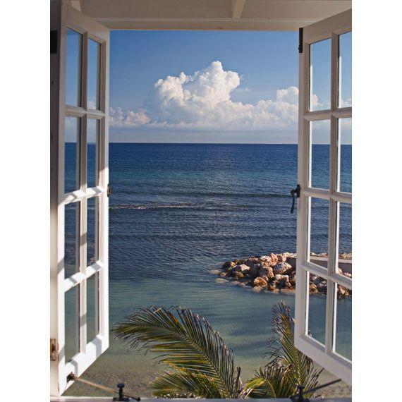Bild Fenster zum Meer, Leinwand, ca. L60xH80 cm Wandbild