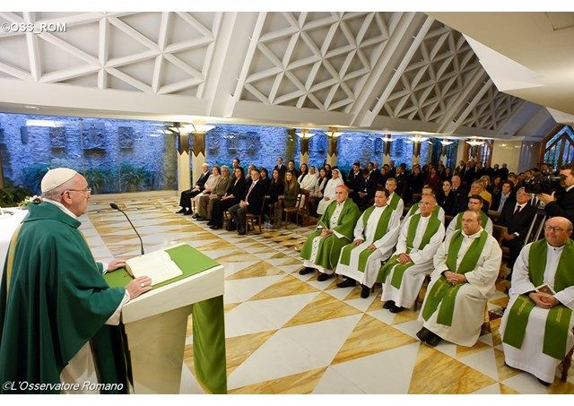 Pope Francis says God forgives us like a Father and not like an official in a law court and stresses that a good priest must feel empathy towards others.