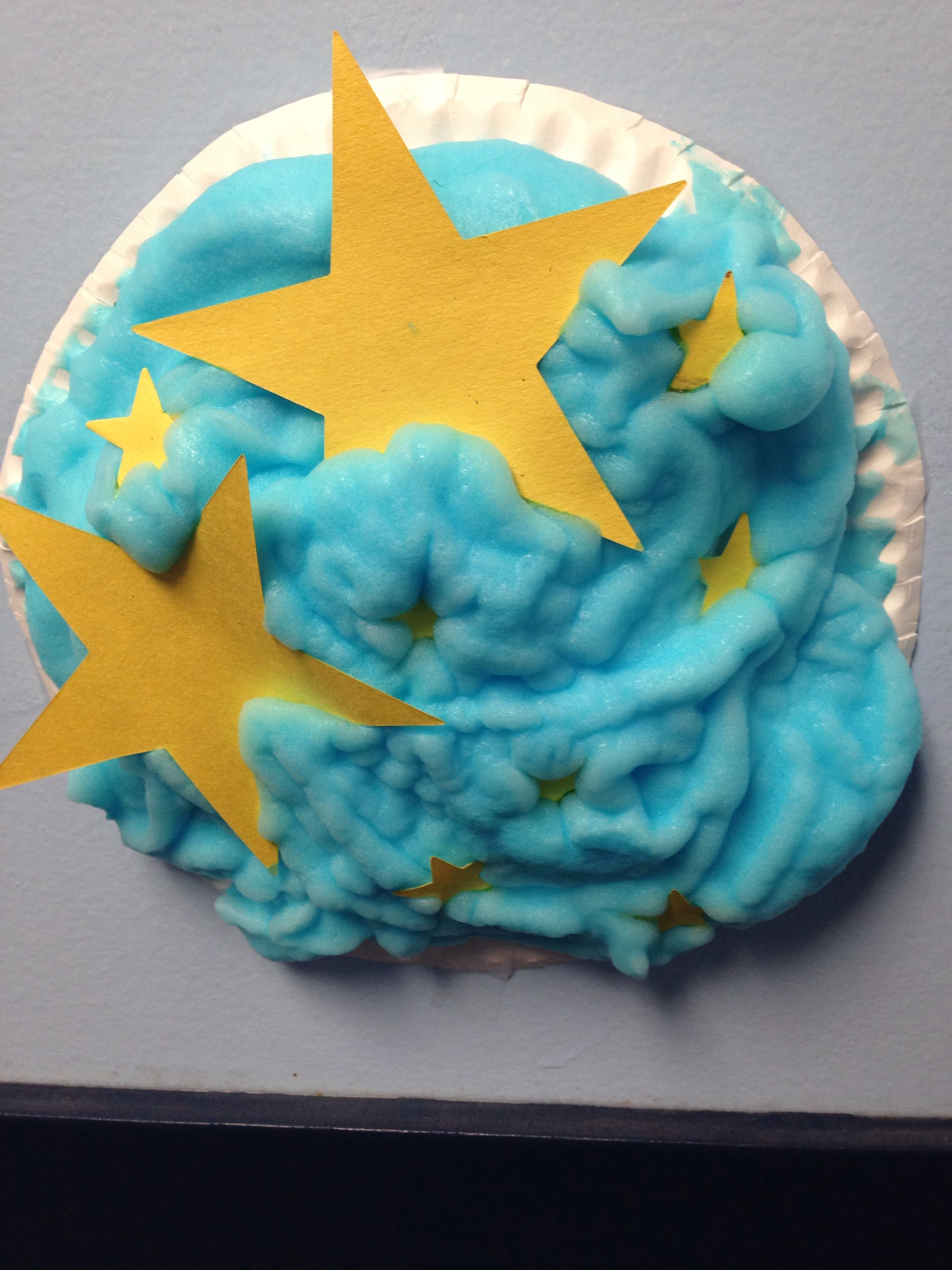 Night Sky Craft For Kids Mix Glue With Shaving Cream And Add A Couple Drops Of Blue Food