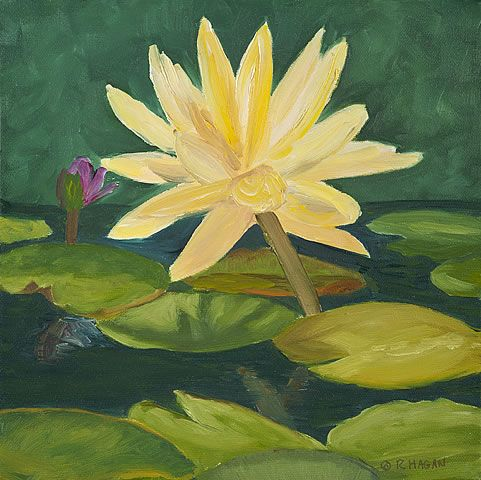 Sun Dappled Water Lilies - oil on canvas - 12x12 - www.rosehagan.com - exuberant flowers - original painting, giclee prints